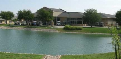 Our dining center and beautiful pond