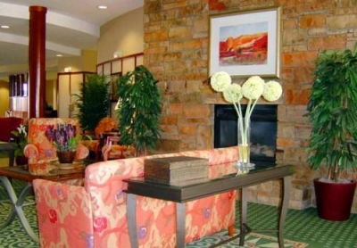 Courtyard Lobby and Fireplace.